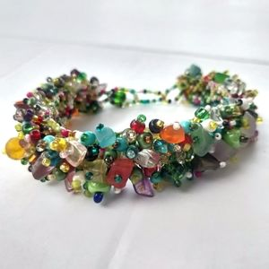 Green Boho Multi Color Beaded Bracelet